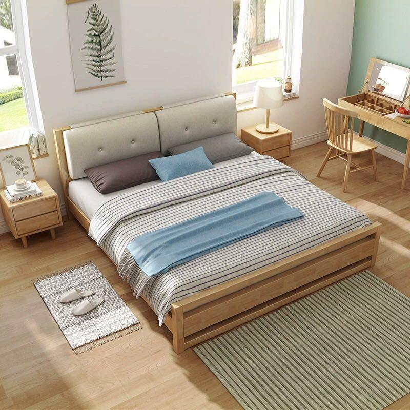 北欧实木双人床1.8米简约现代靠背软包1.5米储物高箱床卧室家具