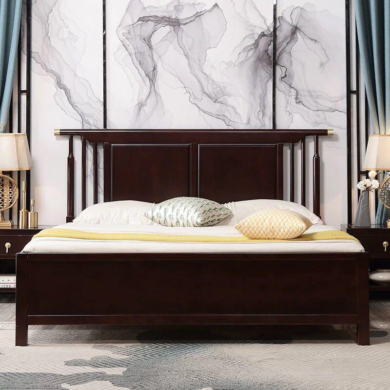 新中式实木床1.8米双人床主卧轻奢1.5米卧室婚床禅意民宿酒店家具