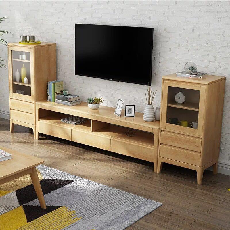 北欧实木电视柜带抽茶几边柜组合客厅现代简约小户型原木色储物柜