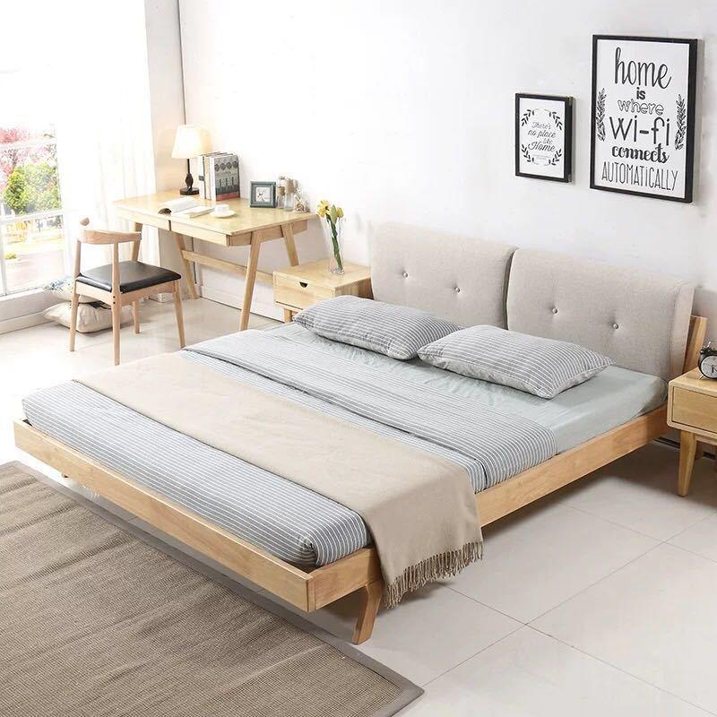 厂家直销 北欧实木床1.8米双人床1.5米简约橡胶木带软靠实木床