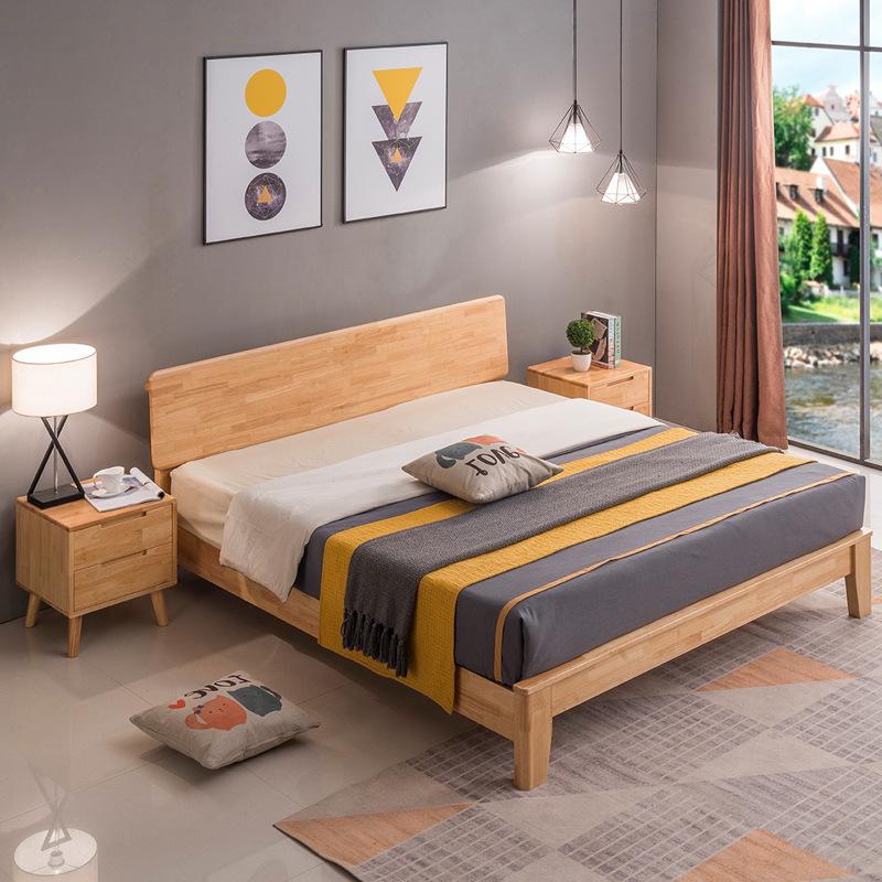 厂家直销北欧实木床1.5米简约现代小户型1.8m单双人木床 定制家具