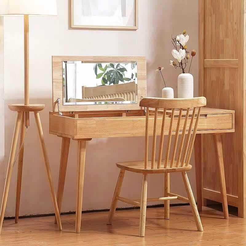 北欧实木梳妆台卧室翻盖多功能化妆桌组合小户型迷你日式化妆台