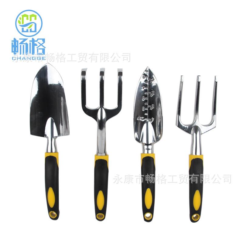 批发套装花园工具套装 铝合金制 园艺工具硅胶双色手柄四件套