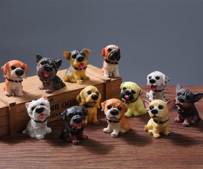 创意仿真树脂12只名犬小狗狗可爱汽车家居装饰摆件 汽车摆件批发