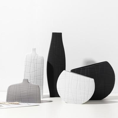 北欧简约艺术黑白条纹陶瓷花瓶创意设计几何样板间桌面家居装饰品