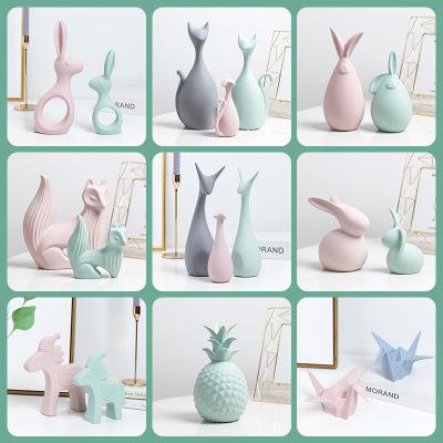 北欧ins风陶瓷动物摆件电视柜玄关欧式创意家居装饰品结婚礼物