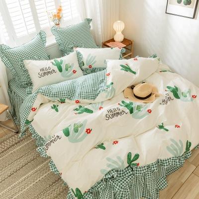 2020春季小清新床上四件套全棉纯棉公主风床单被套4件套一件代发 一件代发