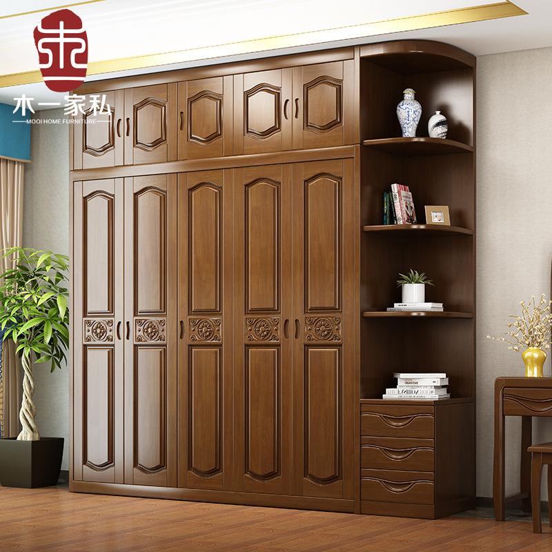 现代简约新中式实木衣柜橡胶木组装3456门整体木质卧室衣橱经济型