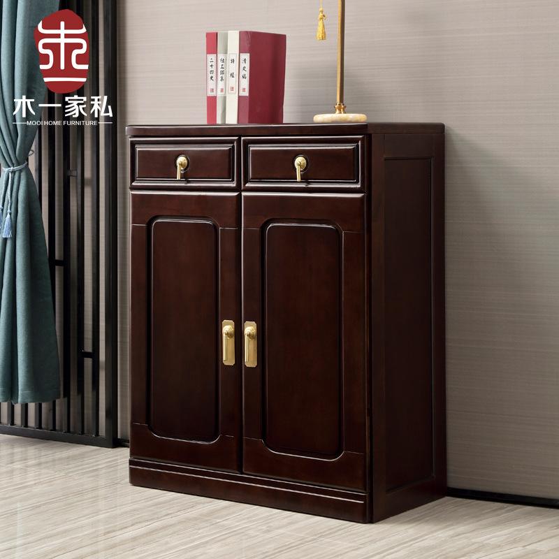 新中式实木鞋柜客厅玄关柜家用对开门两三门鞋柜现代禅意客厅家具