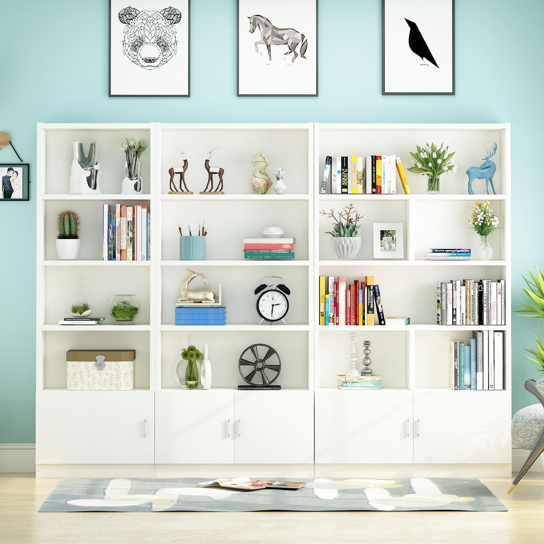 书柜组合置物架简约带门书橱储物柜子简易书架落地学生书柜书架