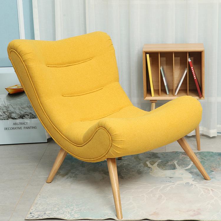 现代简约北欧简约单人沙发椅 休闲布艺懒人椅子 实木阳台蜗牛椅