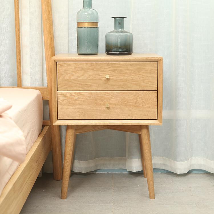 厂家批发白橡木卧室家具储物柜二斗柜纯全实木云端床头柜