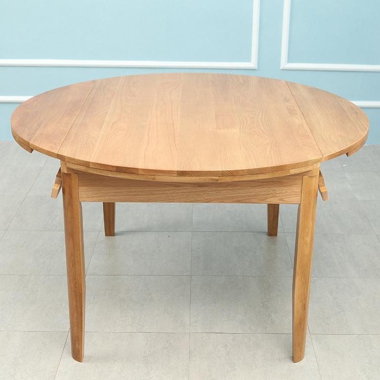 北欧简约风伸缩实木餐桌橡木折叠拉伸网红变形圆桌 ins桌子家具