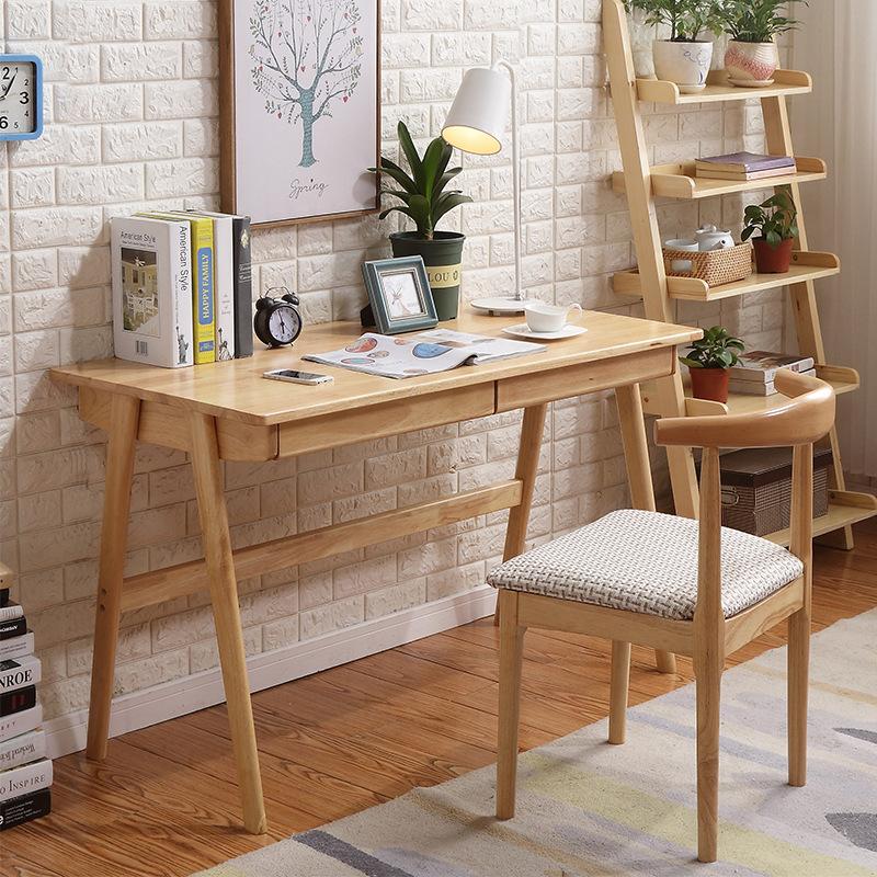 厂家直销原木北欧风格家具实木书桌椅 简约书房电脑桌一件代发
