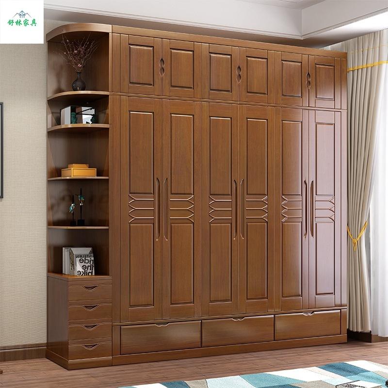 厂家直销新中式总体两三四五门实木衣柜卧室收纳衣柜组合拼接组装