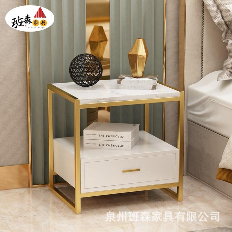 床头柜置物架北欧卧室家具ins轻奢金色简约现代边几收纳储物柜