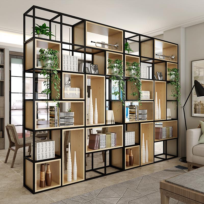 铁艺客厅实木书架餐厅隔断装饰展示架办公室落地置物架现代简约