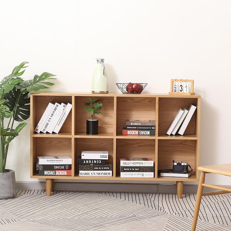 北欧实木书架简易置物架实木多层落地儿童学生组合书柜储物收纳架