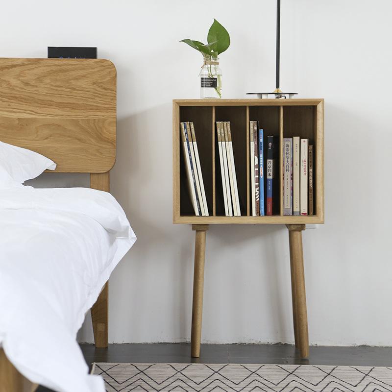 北欧白橡木杂志柜实木多用小书柜简约日式床头柜储物柜日式杂志柜