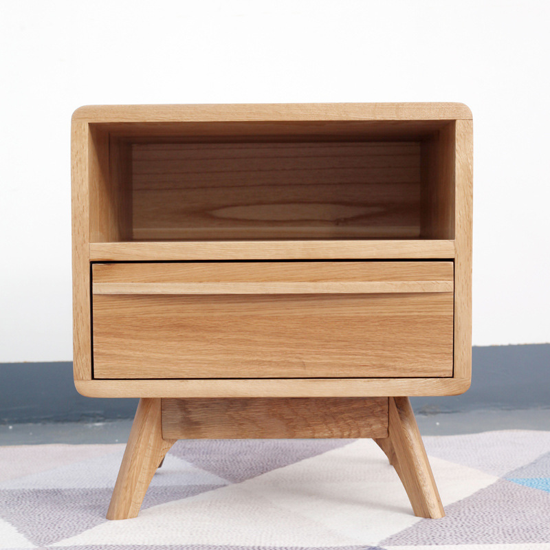 厂家直销简约实木床头柜卧室客厅单抽储物柜子酒店书房落地柜