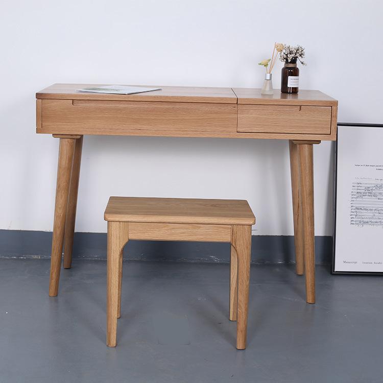 北欧简约纯实木翻盖梳妆台厂家直销白橡环保清新化妆桌凳组合家具