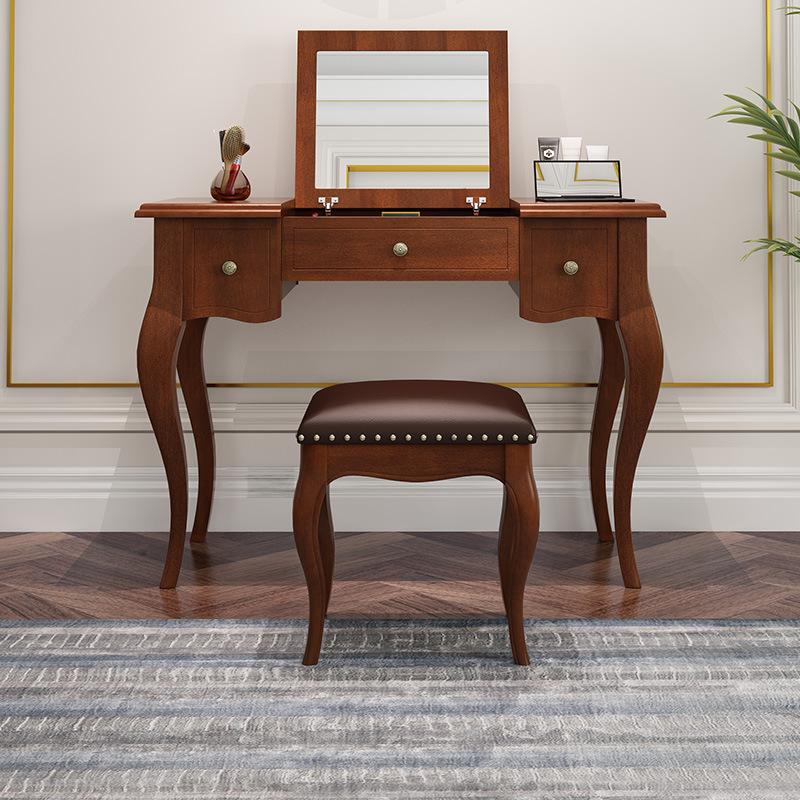 美式家具工厂美式梳妆台 欧式实木妆台镜凳组合 化妆台妆镜 妆凳