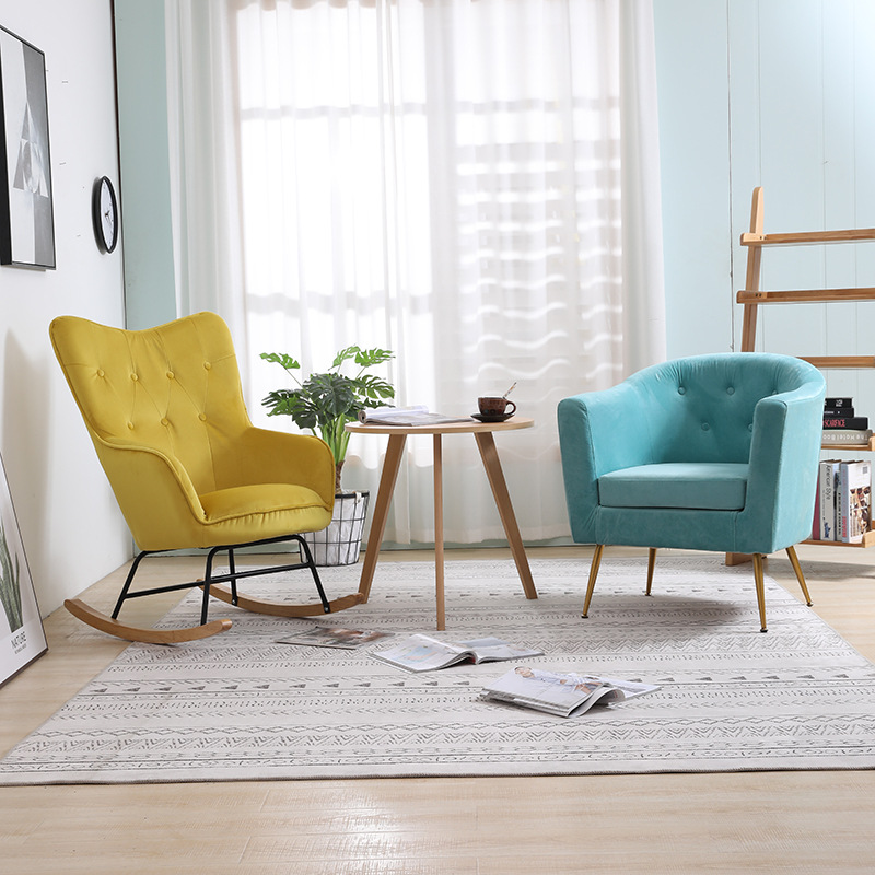 厂家直销现代简约轻奢ins单人沙发阳台卧室客厅懒人沙发网红摇椅