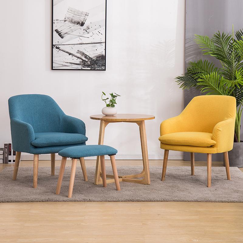 实木布艺单人沙发阳台桌椅休闲椅卧室餐厅庭院懒人现代简约创意