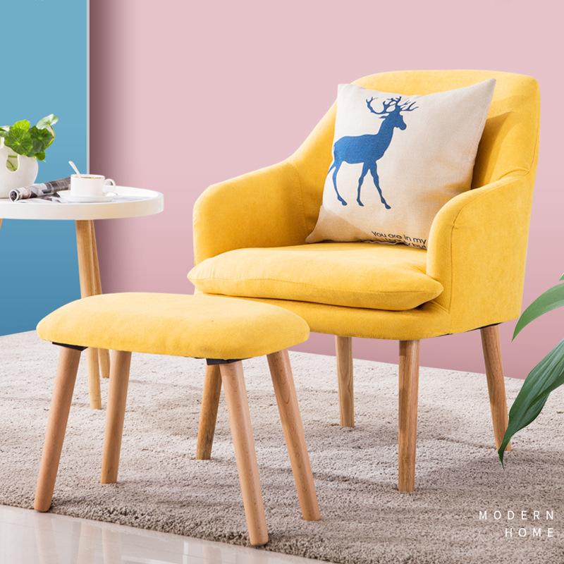 北欧布艺懒人沙发办公客厅单人沙发椅小户型小茶几休闲椅阳台桌椅