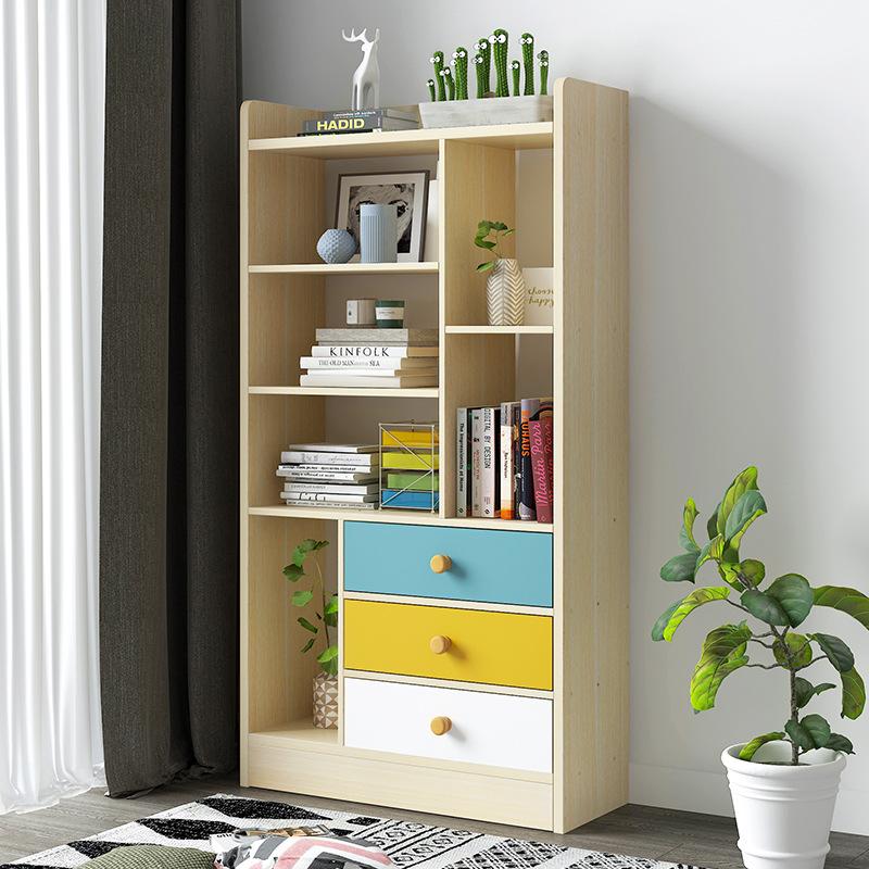 批发简易书柜书架组合简约现代落地置物架组装学生用创意家用架
