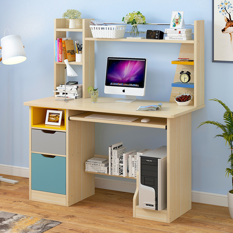 电脑桌北欧台式书桌家用办公桌学生书桌书架组合简约小桌子代发