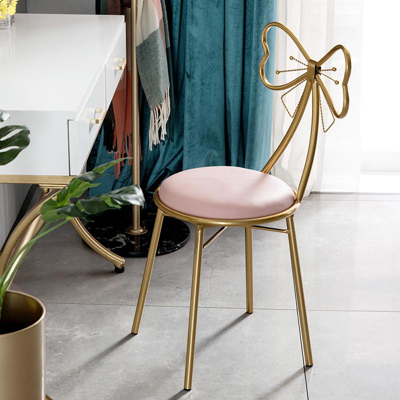 北欧轻奢家用粉色化妆椅小户型卧室铁艺梳妆凳民宿公寓网红蝴蝶椅