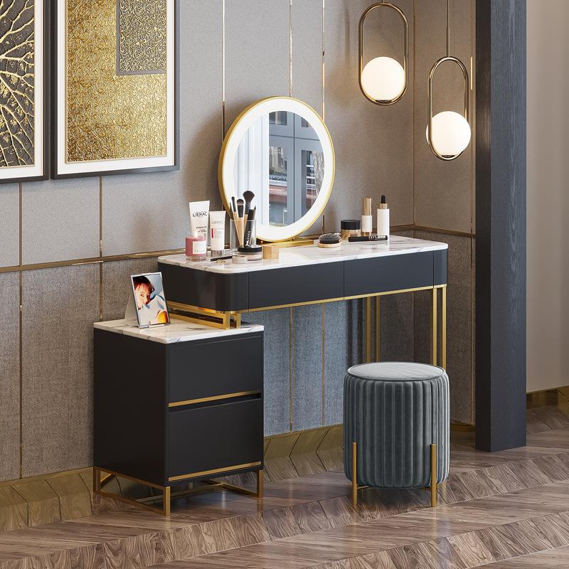 北欧卧室轻奢大理石梳妆台酒店公寓化妆桌美容工作室一体化妆台