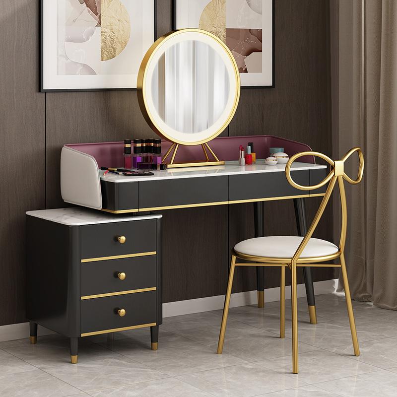 北欧卧室带抽屉梳妆台创意多功能家用化妆台铁艺网红轻奢化妆桌