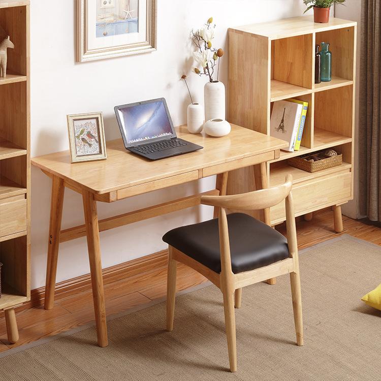 北欧书桌 实木笔记本电脑桌家用写字桌简约现代家具 厂家一件代发