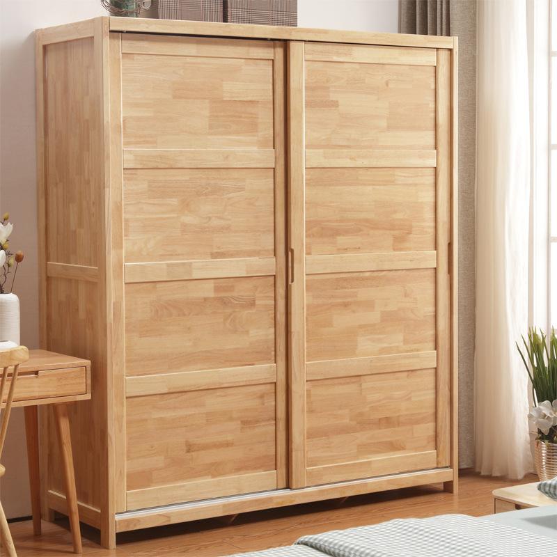 北欧实木衣柜推拉门衣橱两门移门衣柜组装小户型卧室家具厂家直销