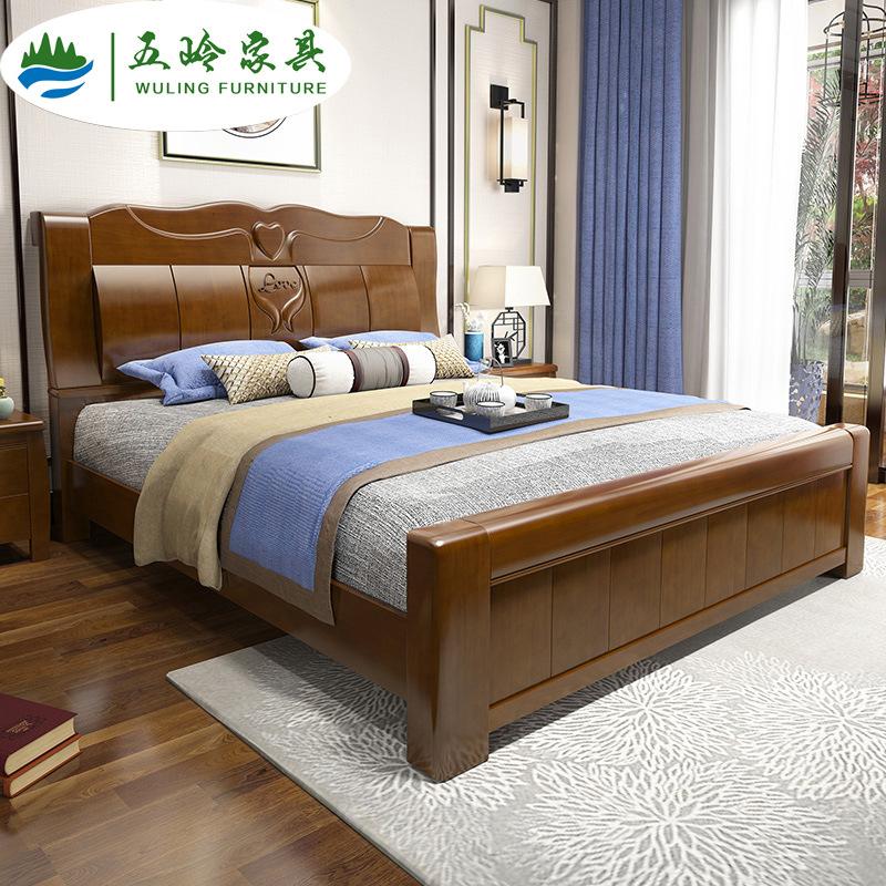 五岭家具 现代中式实木床橡胶木1.8米双人床卧室家具厂家直销批发