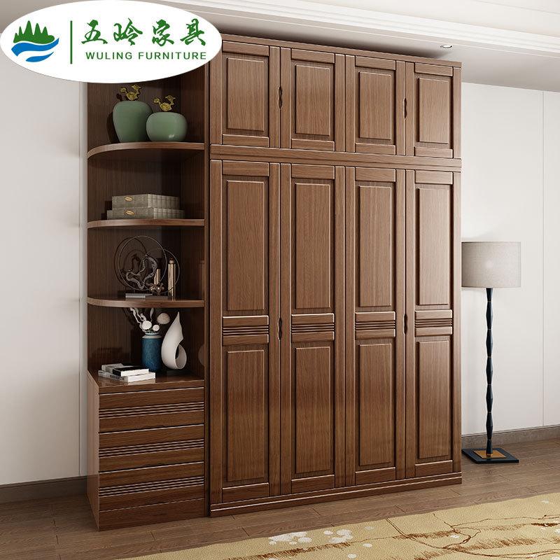 金丝胡桃木实木衣柜中式现代简约卧室3456门加顶平开门木质大衣橱