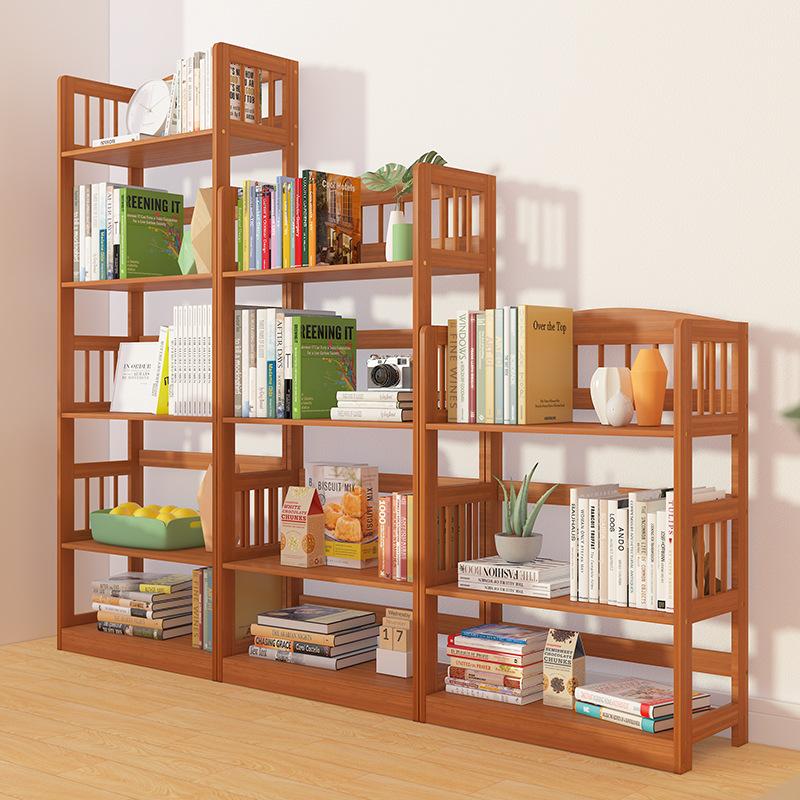 实木简易书架落地书柜简约现代小木柜子储物柜自由组合收纳置物柜