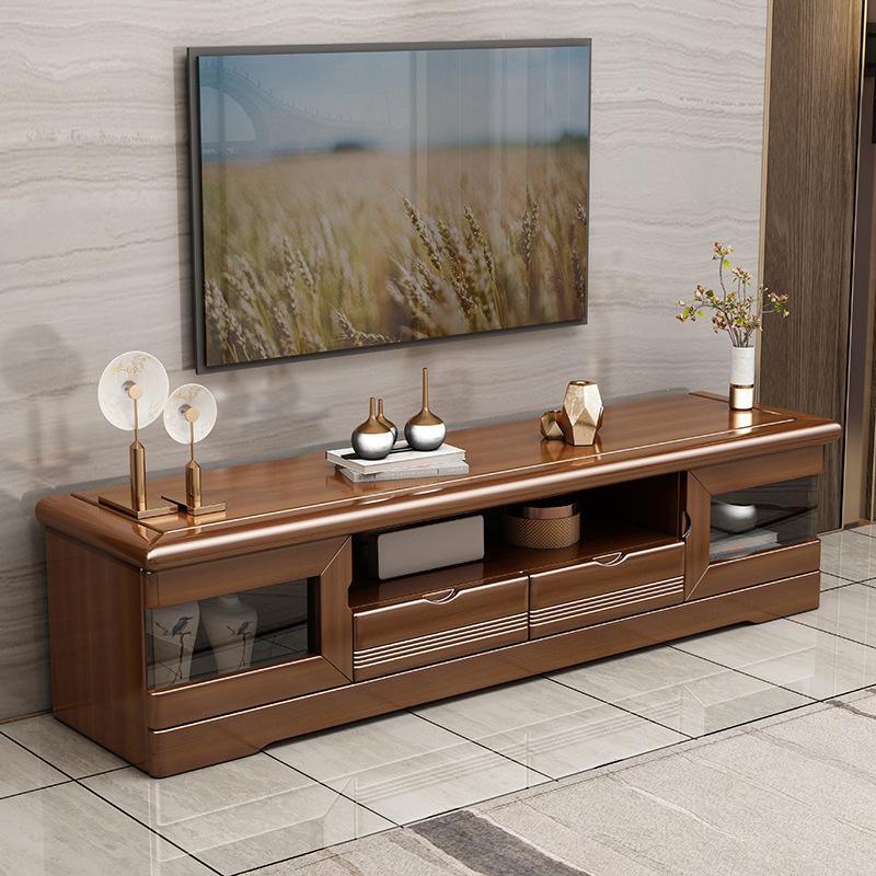胡桃木电视柜新中式实木茶几电视柜组合轻奢客厅高档视听柜电视柜