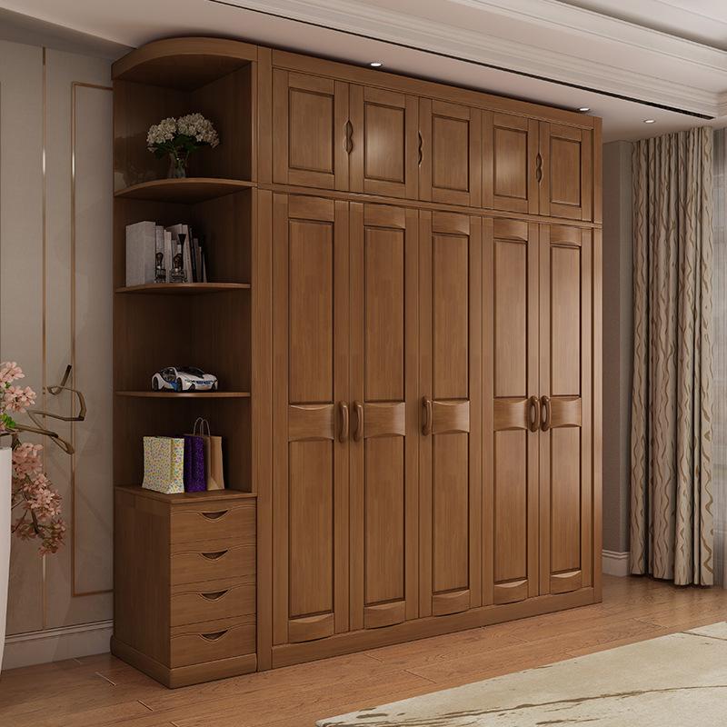 卧室中式实木整体三四五门木质收纳衣柜组合拼接组装出租房
