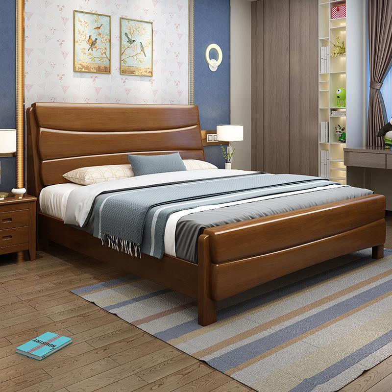 中式实木床1.5/1.8米单双人床宾馆酒店出租房厂家直销高箱储物