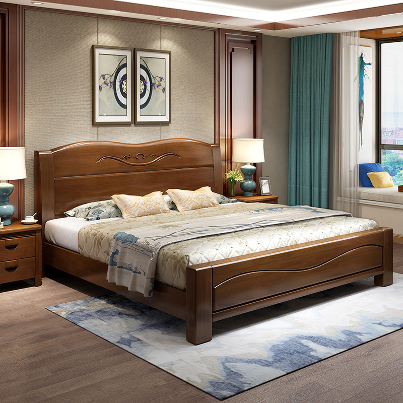 中式1.8米公主实木床酒店宾馆卧室家具1.5米多功能收纳箱体储物床