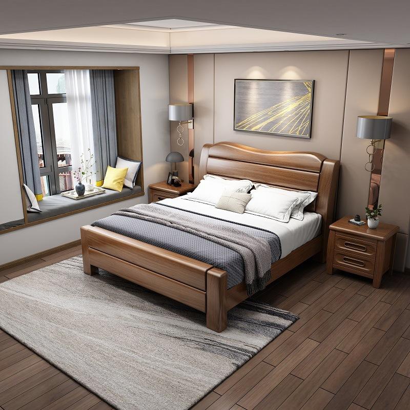 新中式实木床金丝胡桃木床1.8米双人床1.5m多功能储物主卧婚床