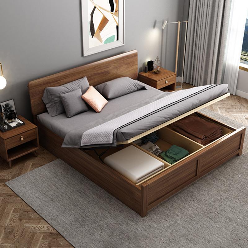 新中式实木床1.8米全实木床1.5米双人床非洲胡桃木宾馆床厂家直销