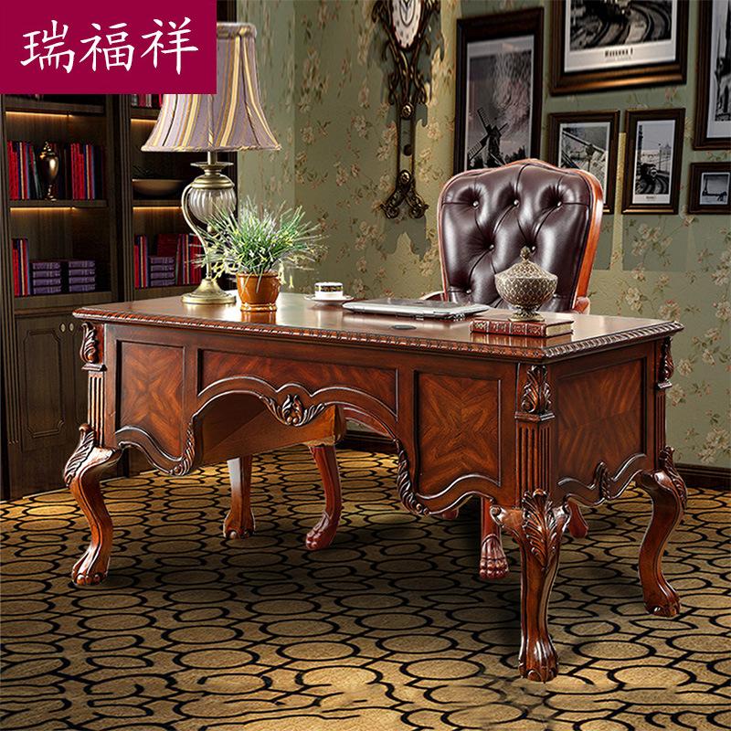 瑞福祥家具厂家直销美式实木书桌欧式电脑桌复古书桌椅组合套装