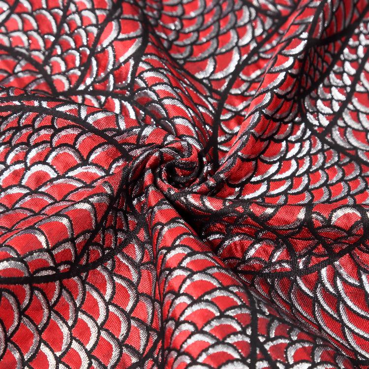 2020新款特色蛇皮设计旗袍花型面料定位花梭织提花色织布厂家直销