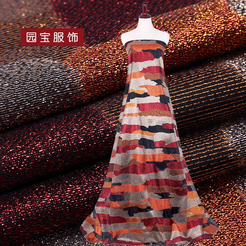 源头厂家色织金银丝提花布欧根纱提花女装时装服装面料家纺布料