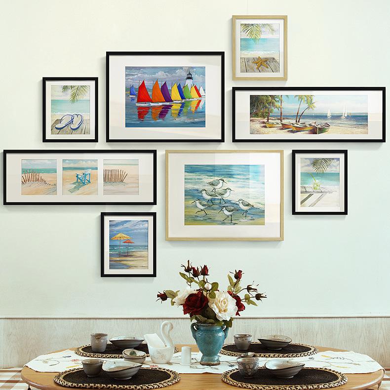 果贝工艺 现代简约客厅风景画 组合艺术照片墙海景有框画