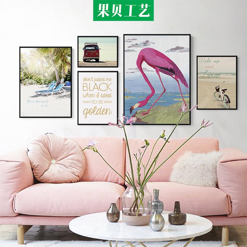 北欧火烈鸟客厅挂画沙发背景墙动物卡通装饰画现代简约照片墙壁画